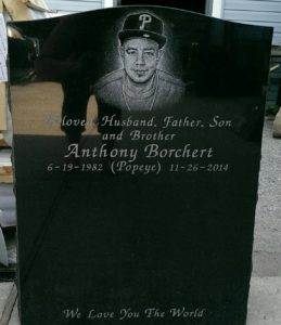 Upright Black Granite Stones with Hand Etchings